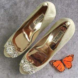 Badgley Mischka Gold Leather Crystal Heels Size 9